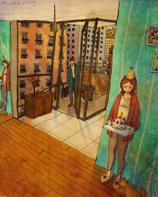 ある恋人たちの日常を描いた愛情あふれるイラスト作品 - 09