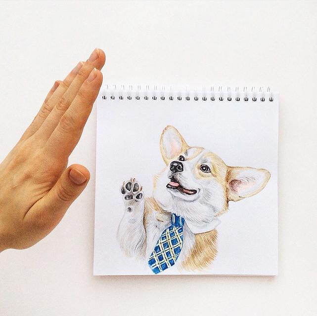 スケッチブックの中の犬と遊ぶイラストレーター - 06
