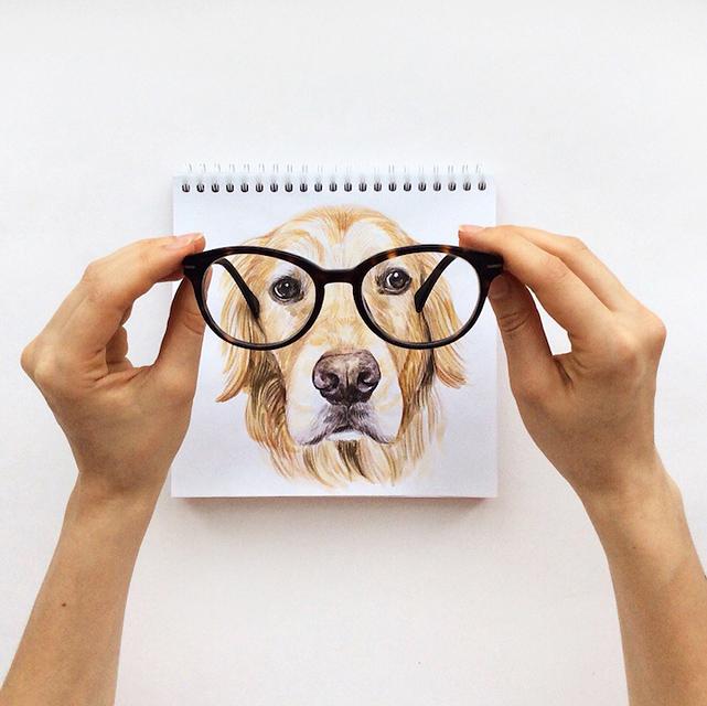 スケッチブックの中の犬と遊ぶイラストレーター - 10