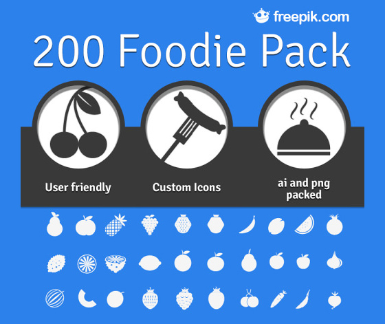 200 Foodie Pack: A Free Set Of Food Icons