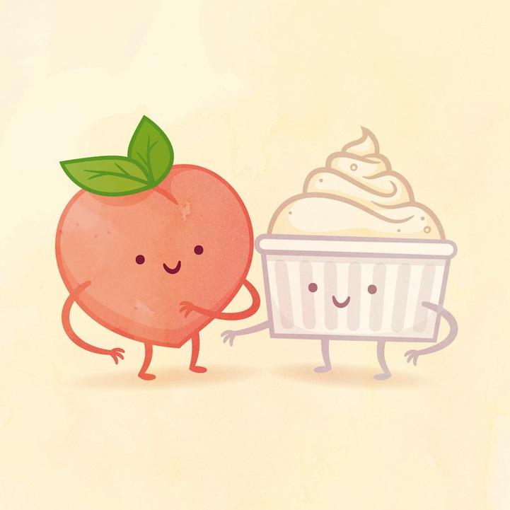 桃とクリーム