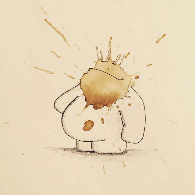 コーヒーのシミが、素敵で魅力的なモンスターたちに! - 01