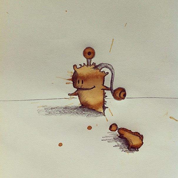コーヒーのシミが、素敵で魅力的なモンスターたちに! - 02