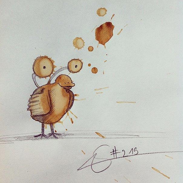 コーヒーのシミが、素敵で魅力的なモンスターたちに! - 06