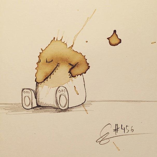 コーヒーのシミが、素敵で魅力的なモンスターたちに! - 07