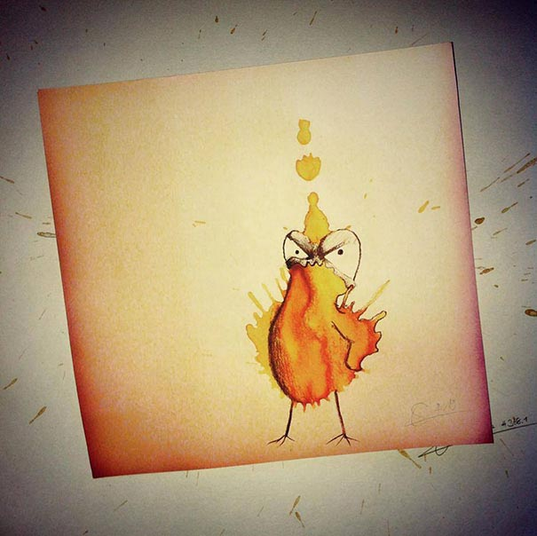 コーヒーのシミが、素敵で魅力的なモンスターたちに! - 08
