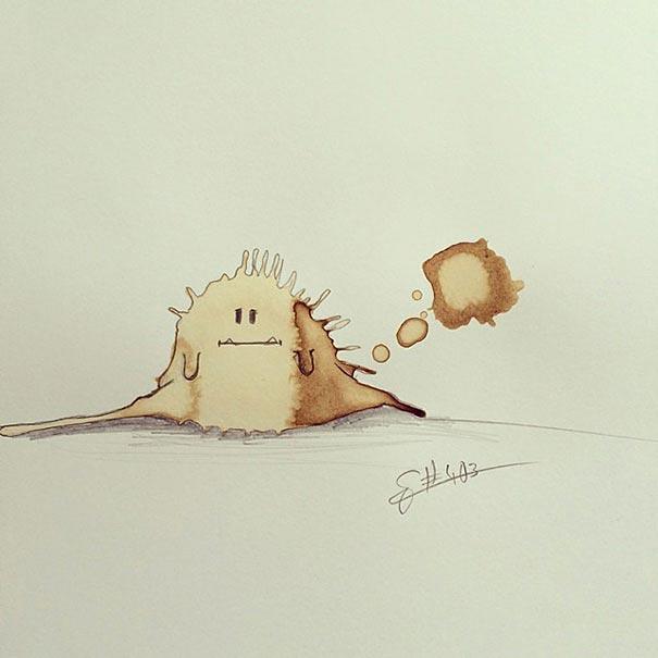 コーヒーのシミが、素敵で魅力的なモンスターたちに! - 10