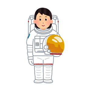 宇宙服を着た宇宙飛行士のイラスト(女性)