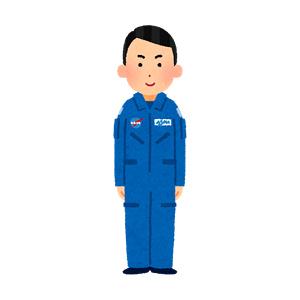ブルースーツを着た宇宙飛行士のイラスト(男性)