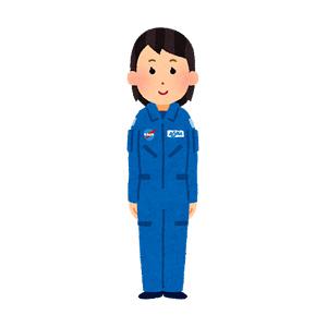 ブルースーツを着た宇宙飛行士のイラスト(女性)