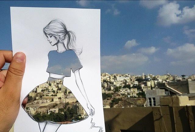 街や風景がドレスの柄になる美しい切り抜きアート - 01