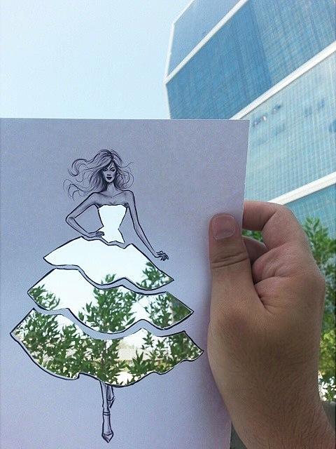 街や風景がドレスの柄になる美しい切り抜きアート - 02