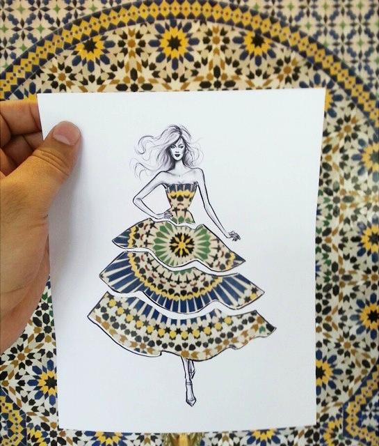 街や風景がドレスの柄になる美しい切り抜きアート - 03