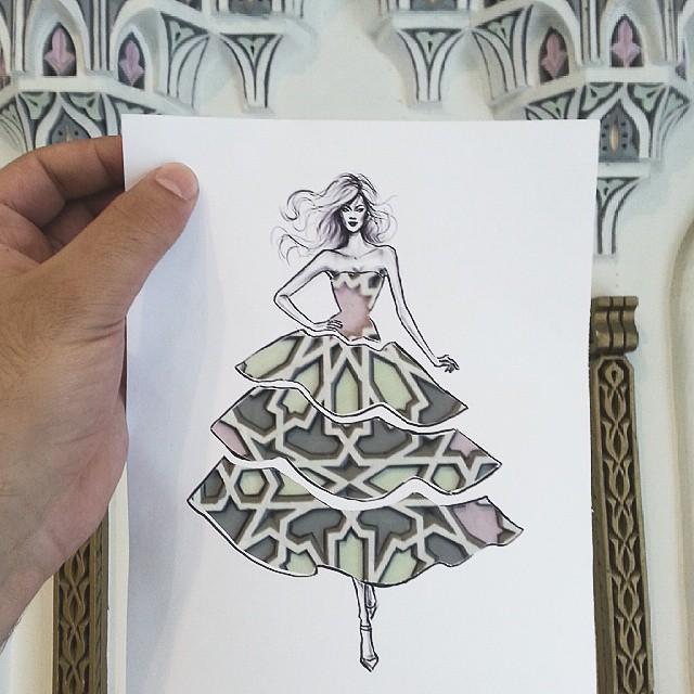 街や風景がドレスの柄になる美しい切り抜きアート - 04