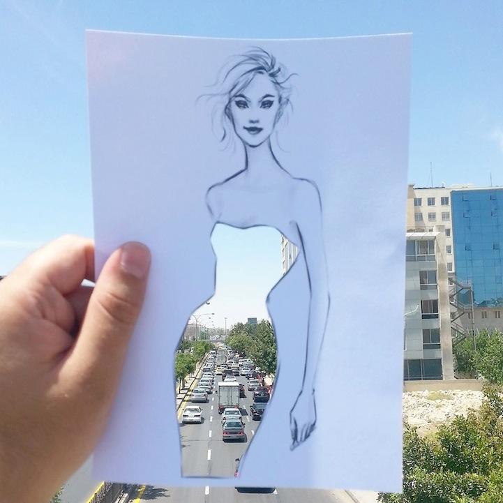 街や風景がドレスの柄になる美しい切り抜きアート - 05