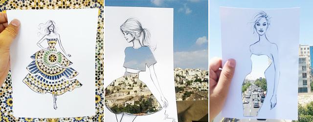 街や風景がドレスの柄になる美しい切り抜きアート