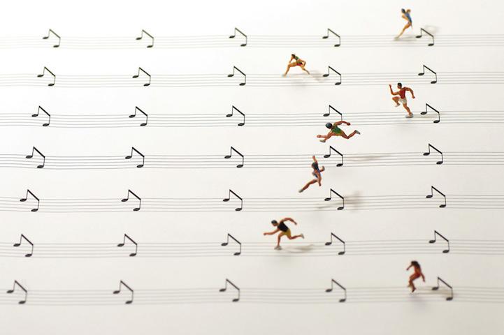 五線譜と音符が、ハードル競走に!