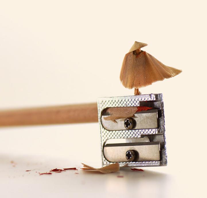 鉛筆の削りカスは、傘とミノ!