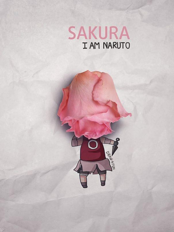 ピンクのバラで桜の髪!
