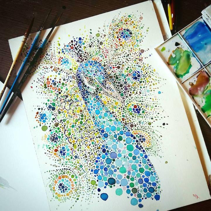 点描画スタイルの美しいイラストレーション - 01