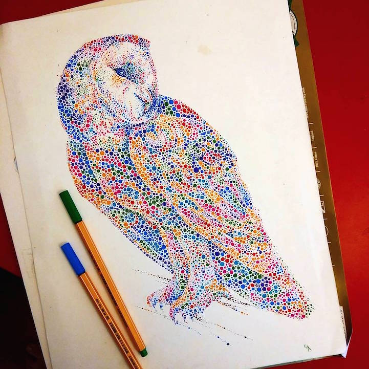 点描画スタイルの美しいイラストレーション - 03