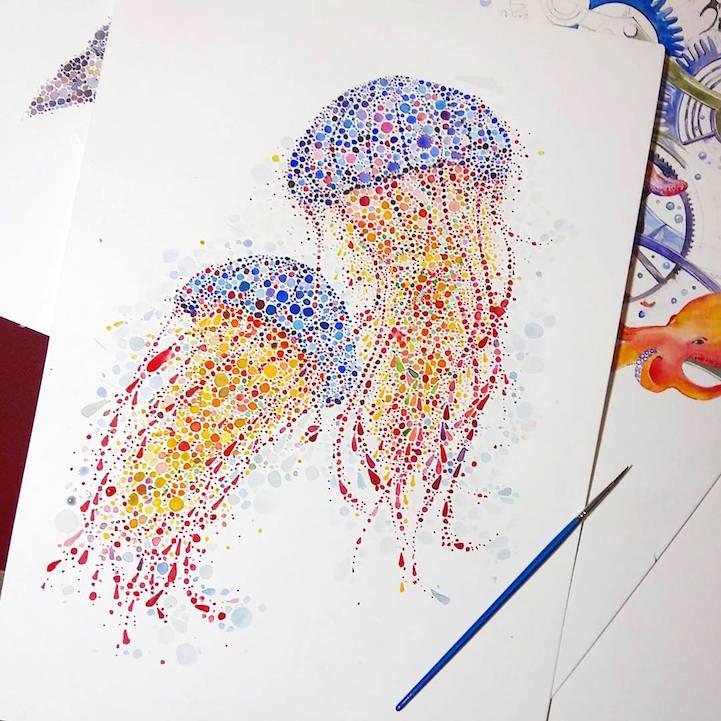 点描画スタイルの美しいイラストレーション - 04