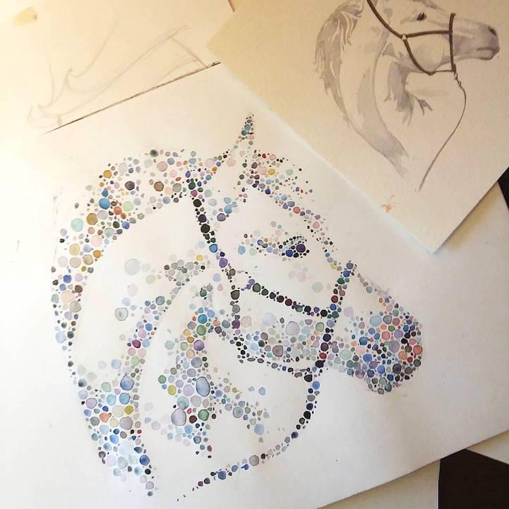 点描画スタイルの美しいイラストレーション - 05
