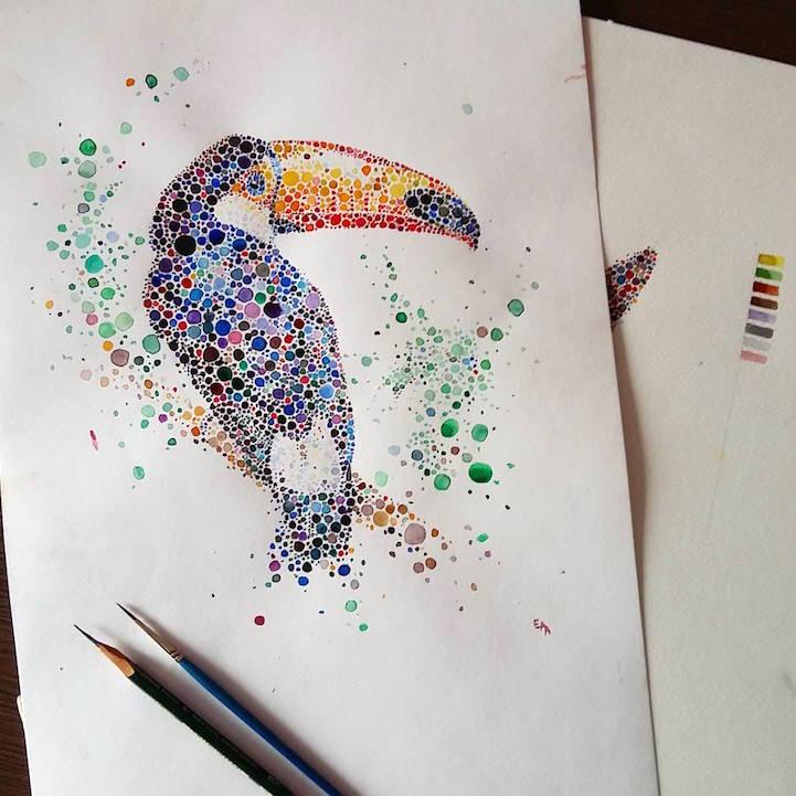 点描画スタイルの美しいイラストレーション - 06