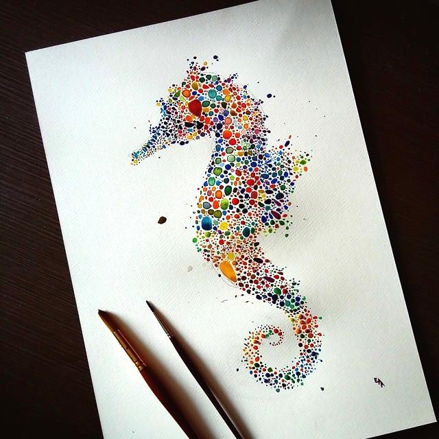 点描画スタイルの美しいイラストレーション - 07