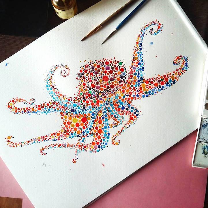 点描画スタイルの美しいイラストレーション - 09