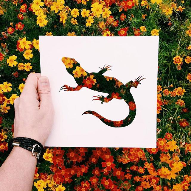 動物のシルエットで切り取って作る美しいアート作品 - 05