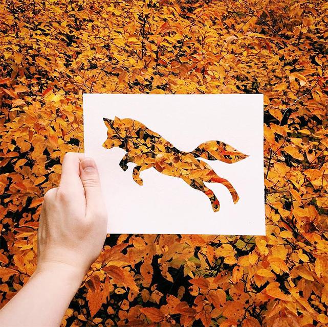 動物のシルエットで切り取って作る美しいアート作品 - 07