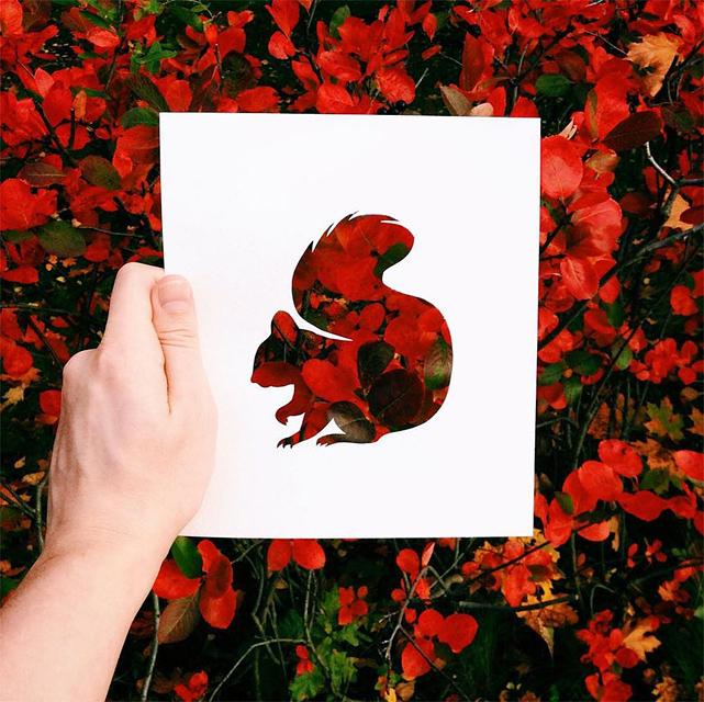 動物のシルエットで切り取って作る美しいアート作品 - 08