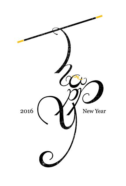 年賀状2016 No.25: happy MONKEY