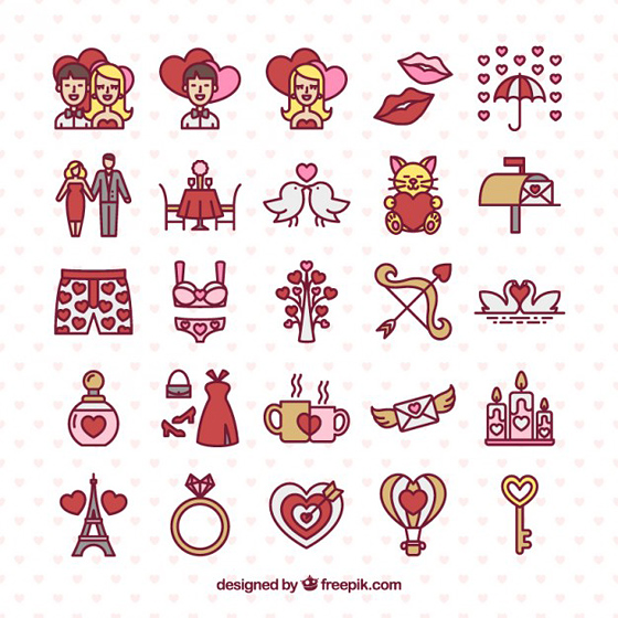 Hand drawn valentine day icons pack