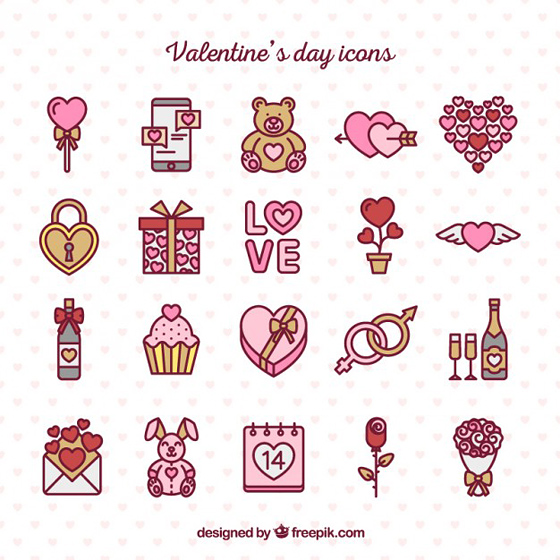 Hand drawn valentine day cute icons pack